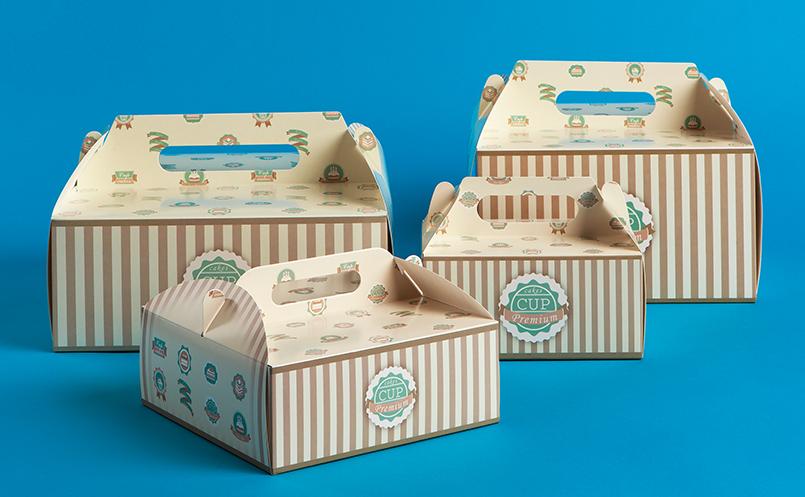 opakowania dla cukierni - pudełka do tortu z rączką zadrukowane